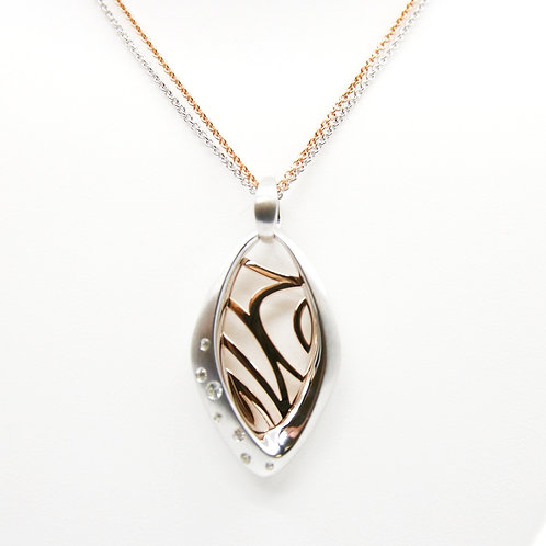 Rose Gold & Rhodium Plated Sterling Silver White Sapphire Necklace