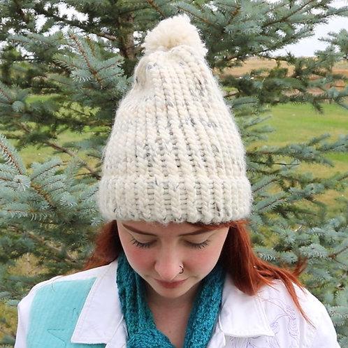Hand Knit Alpaca Hat (white)