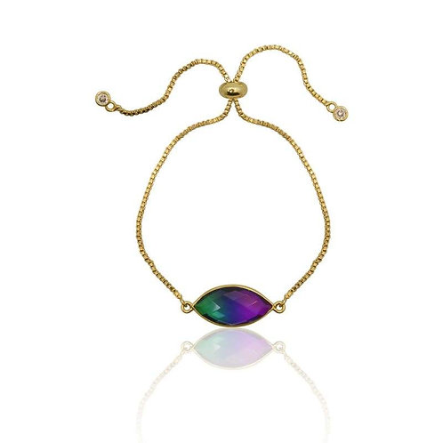 Peacock Aura Gold Adjustable Bracelet