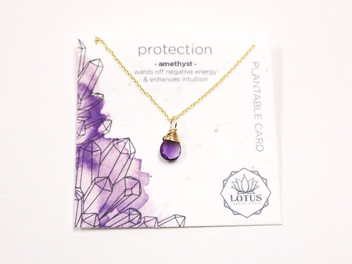 Healing Stone Necklace - Protection (Amethyst)