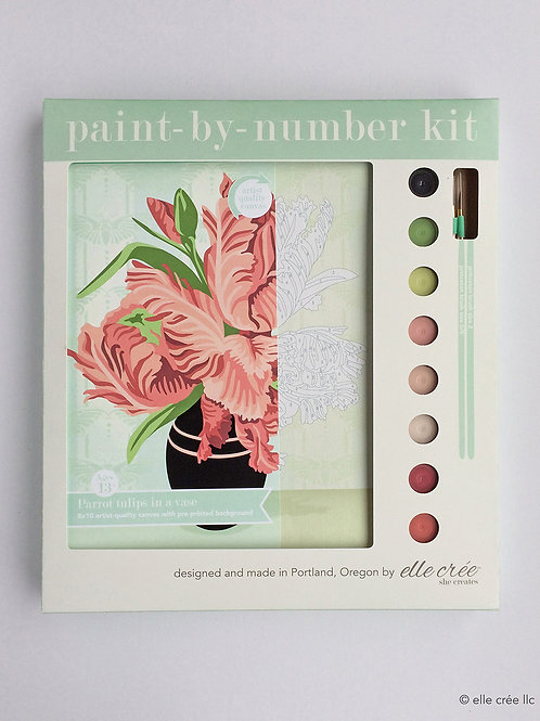 8x10 Canvas Kit | Parrot Tulips in a Vase | paint-by-nu