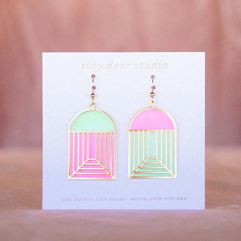 Stained Glass Earrings - pink/green