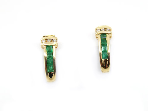 Vintage Emerald and Diamond Earrings