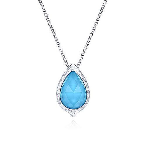 925 Sterling Silver Round Rock Crystal/Turquoise Doublet Pendant Necklace