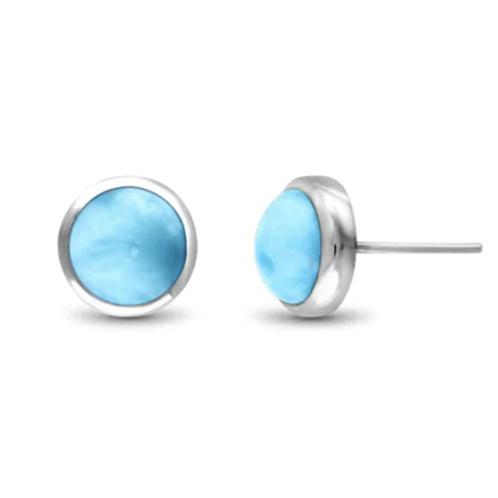 Round Post Larimar Earrings