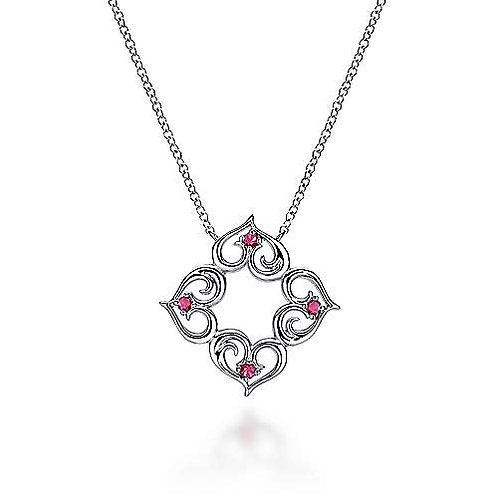 Sterling Silver Ruby Adjoin Hearts Pendant Necklace