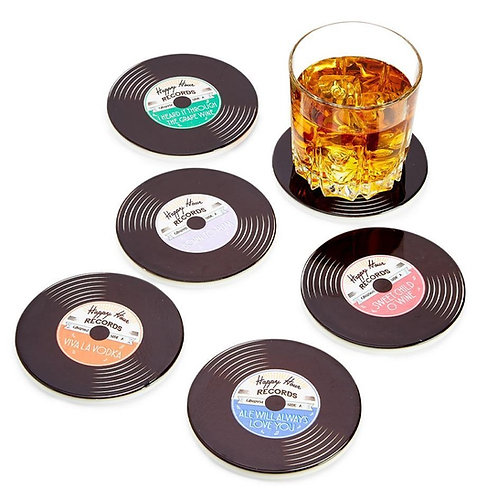 Happy Hour Record Coasters (set of 6)