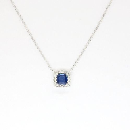 Cushion Shaped Sapphire & Diamond Pendant