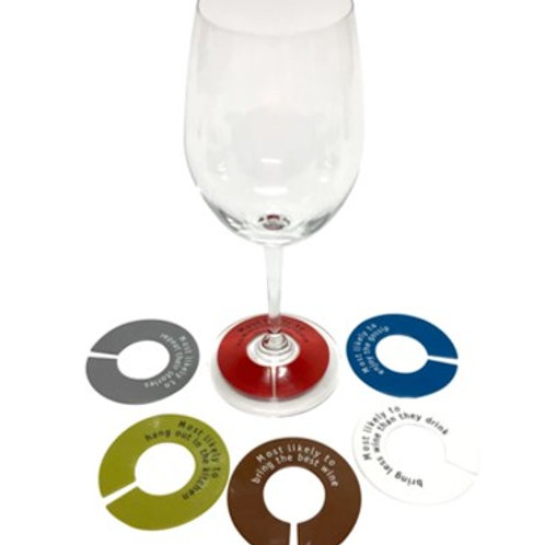 GlassWhere Silicone Wine Glass Identifiers - (Set of 6) Assorted Muted