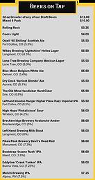 beer menu miners tavern Erie CO