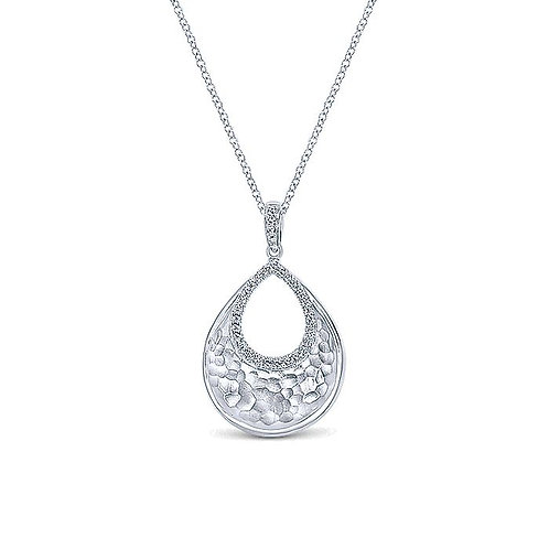 925 Sterling Silver Hammered Teardrop Diamond Halo Pendant Necklace