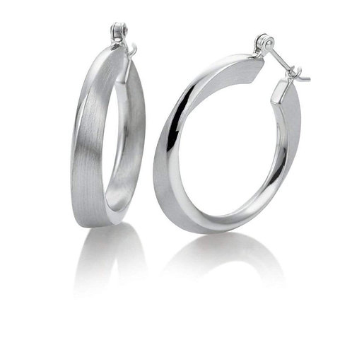 Sterling Silver Contoured Textured Hoop Earrings
