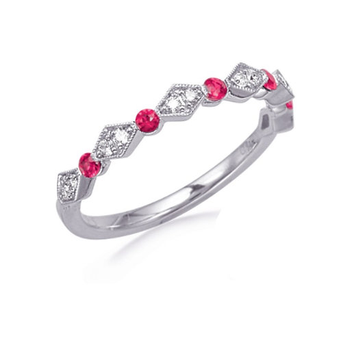 White Gold Ruby and Diamond Stackable Ring