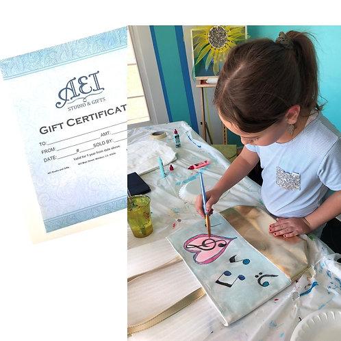 Gift Certificate - Kid's Art Classes