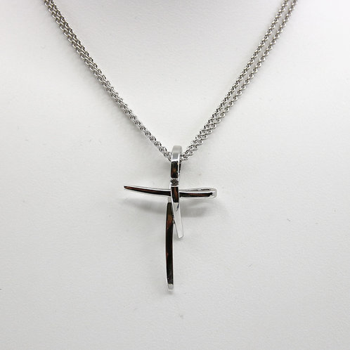 Sterling Silver Cross with Sapphire Necklace