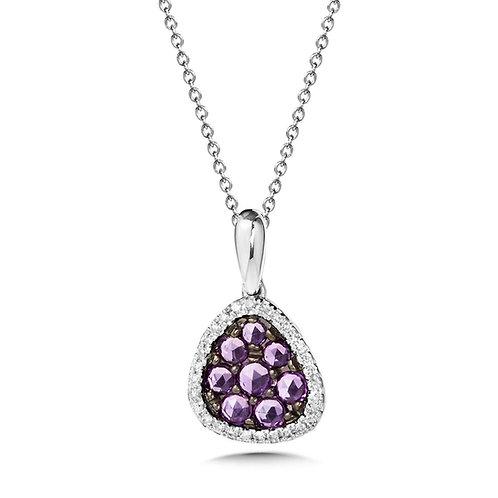 Rose Cut Amethyst and Diamond Pendant
