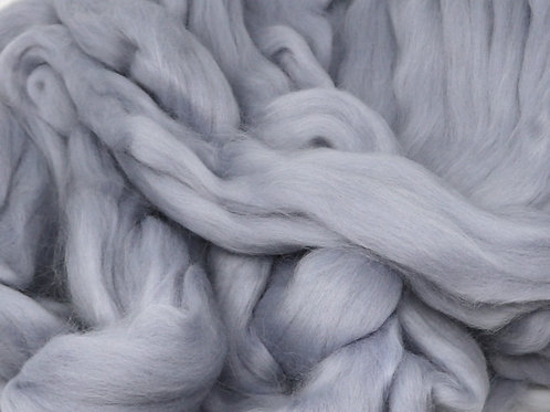 Dyed Merino Silk Top - Silver Gray