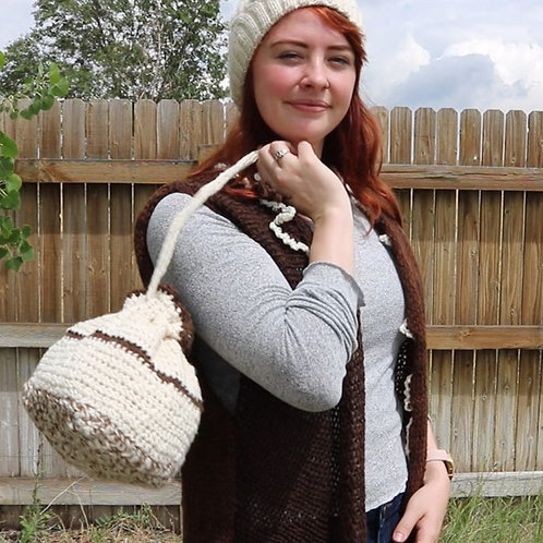 Handmade Alpaca Cinch Handbag (cream/brown)