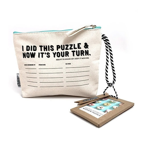 Wooden Puzzle: Nine Donuts in Pouch