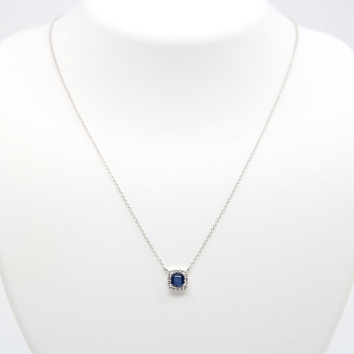 Cushion Shaped Sapphire & Diamond Pendant