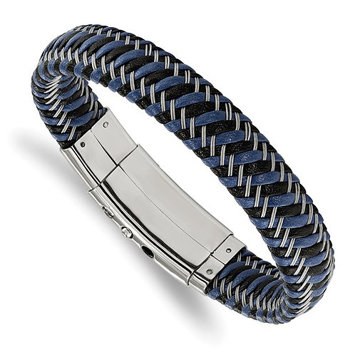 Stainless Steel Polished Black and Blue Leather Adj. 7.75-8.25in Bracelet