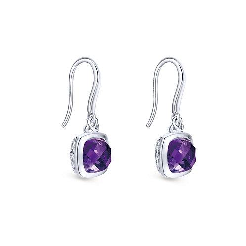 925 Sterling Silver Cushion Bezel Amethyst Drop Earrings