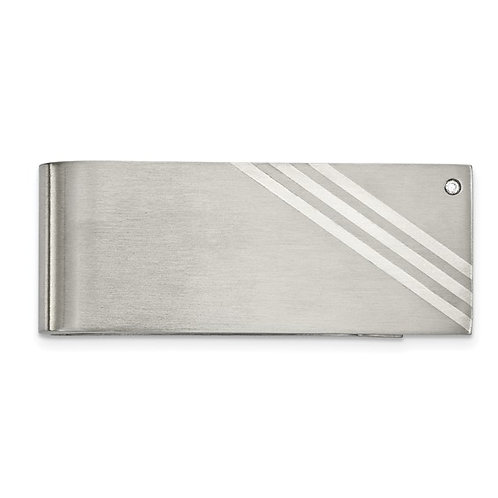 Money Clip - Brushed Stainless Steel with Silver Inlay CZ