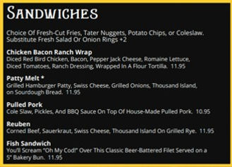 Sandwiches Miners Tavern Menu