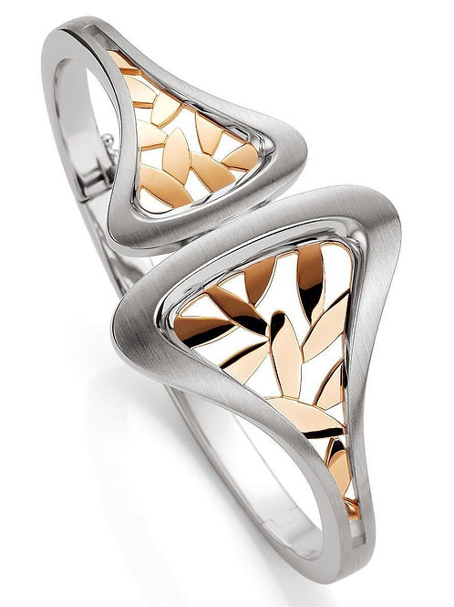 Silver and Rose Gold Plated Bangle Bracelet