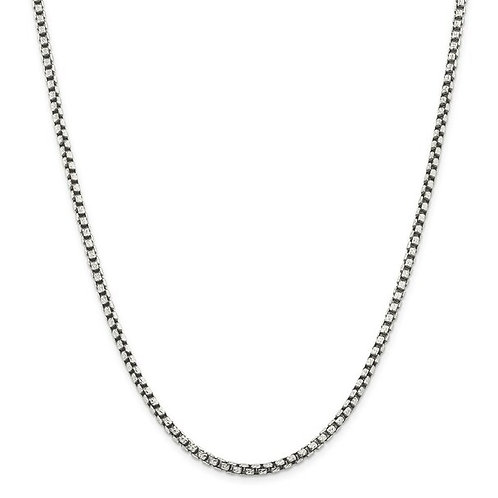 """24"""" Round Box Chain - Sterling Silver"""