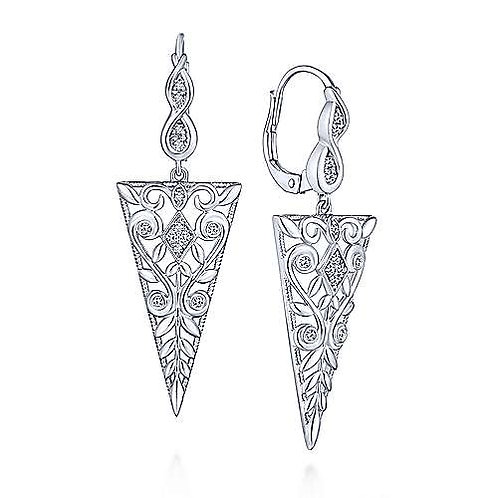 Sterling Silver Vintage Inspired Triangular White Sapphire Drop Earrings