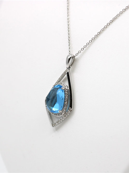Blue Topaz and  and Diamond Pendant