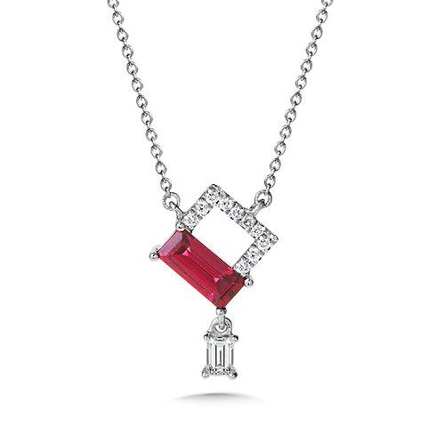 Rhodolite Garnet and Diamond Necklace