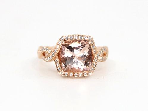 Cushion Morganite and Diamond Ring