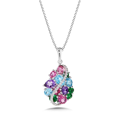 Mixed Gemstone and Diamond Pendant