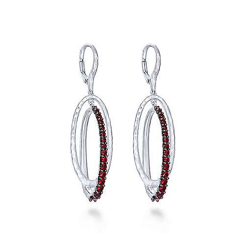 Sterling Silver Hammered Double Oval Garnet Drop Earrings