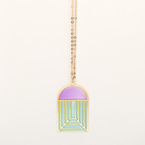 Translucent Stained Glass Pendant Necklace - purple/greenpink/green