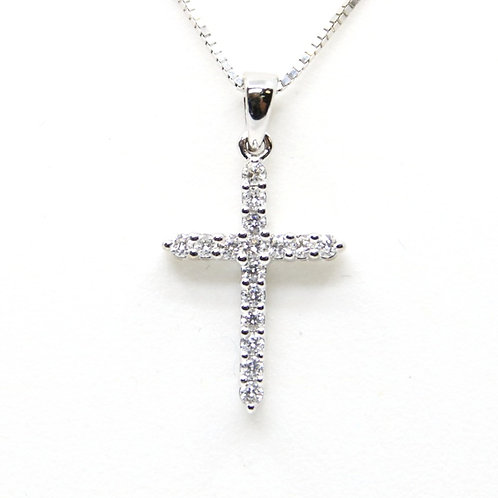Diamond Cross Necklace 14K White Gold
