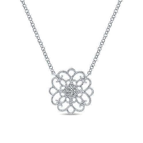 925 Sterling Silver Round Filigree White Sapphire Pendant Necklace