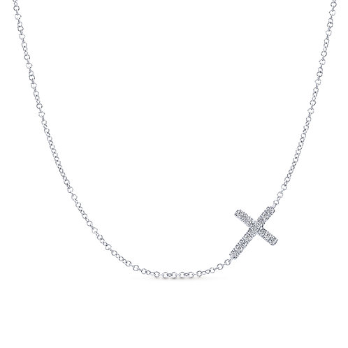 925 Sterling Silver Sideways White Sapphire Cross Necklace