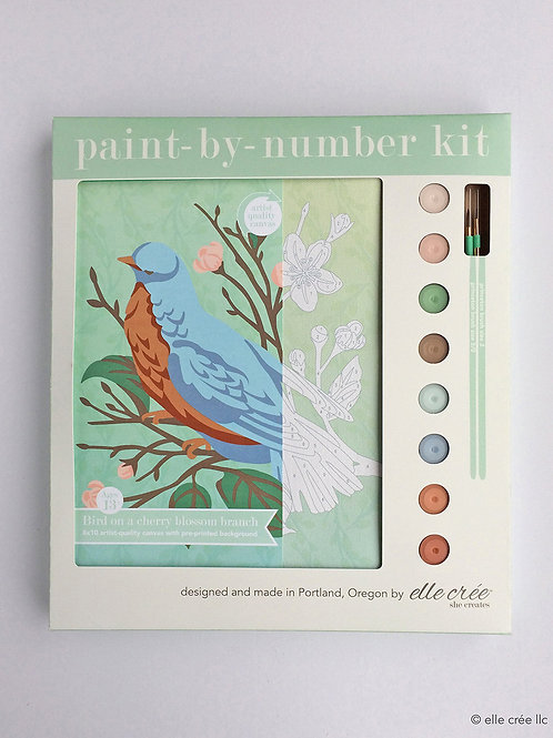 8x10 Canvas Kit | Bird on a Cherry Blossom Branch | paint-by-number kit