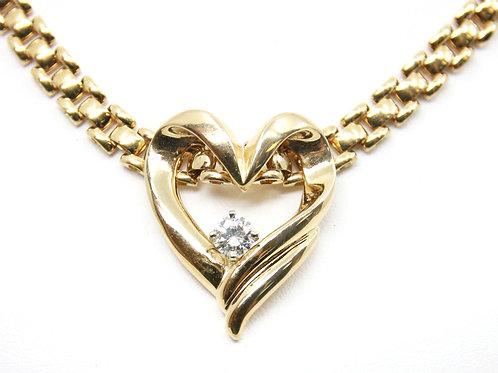 Gold Freeform Heart Pendant with Diamond