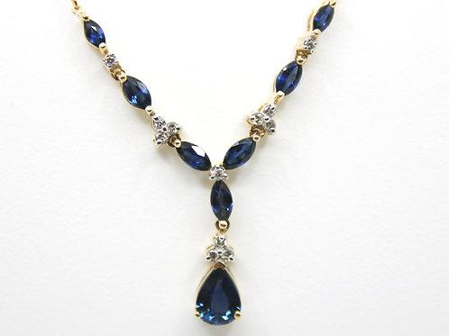 Vintage Blue Sapphire and Diamond Necklace