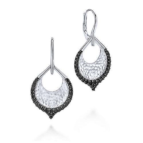 Sterling Silver Hammered Teardrop Leverback Earrings with Black Spinel
