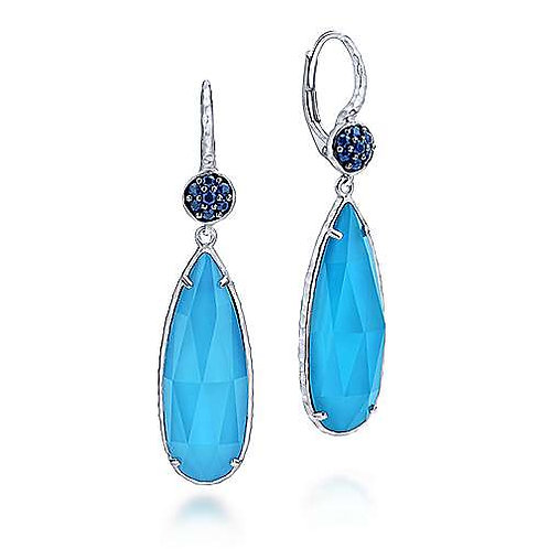 Sterling Silver Sapphire Earrings with Turquoise/Rock Crystal Teardrops