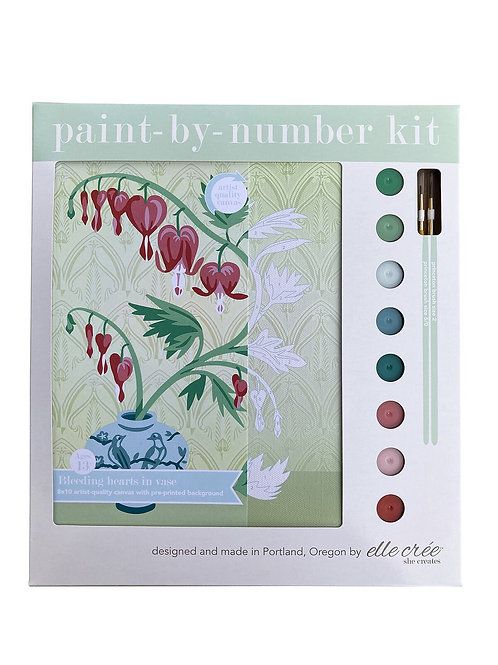 8x10 Canvas Kit | Bleeding Hearts in Vase | paint-by-number kit