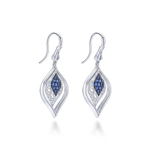 925 Sterling Silver Vintage Inspired Openwork Sapphire Drop Earrings