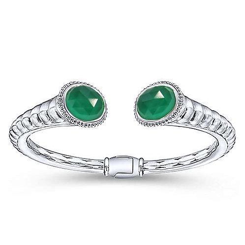 925 Silver Green Quartz Bangle