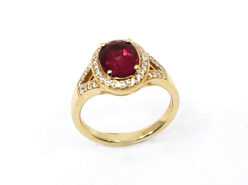 Oval Pink Tourmaline Rubellite and Diamond Ring