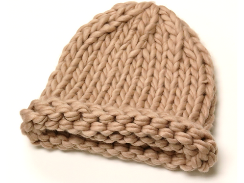 Fancy Lofty Yarn Hand Knit Beanie